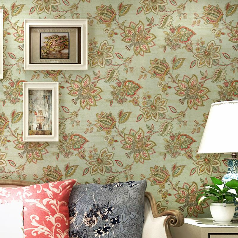 Green Pastoral Southeast Asian Style Pure Paper Big Flower Wallpaper ...