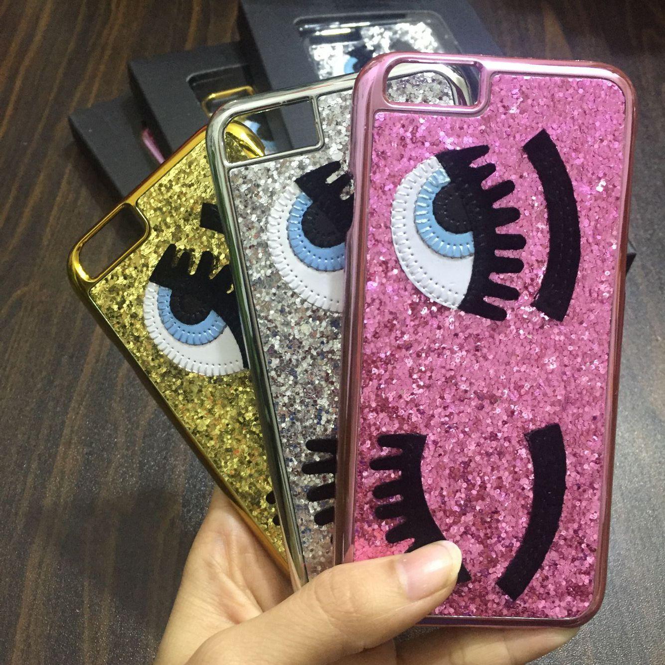 best website 9f0a5 6fc5b Glitter powder fashion chiara ferragni Bling big eyes eyelashes PC Plating  back Cover phone Cases for iPhone x 8 7 6 6S Plus