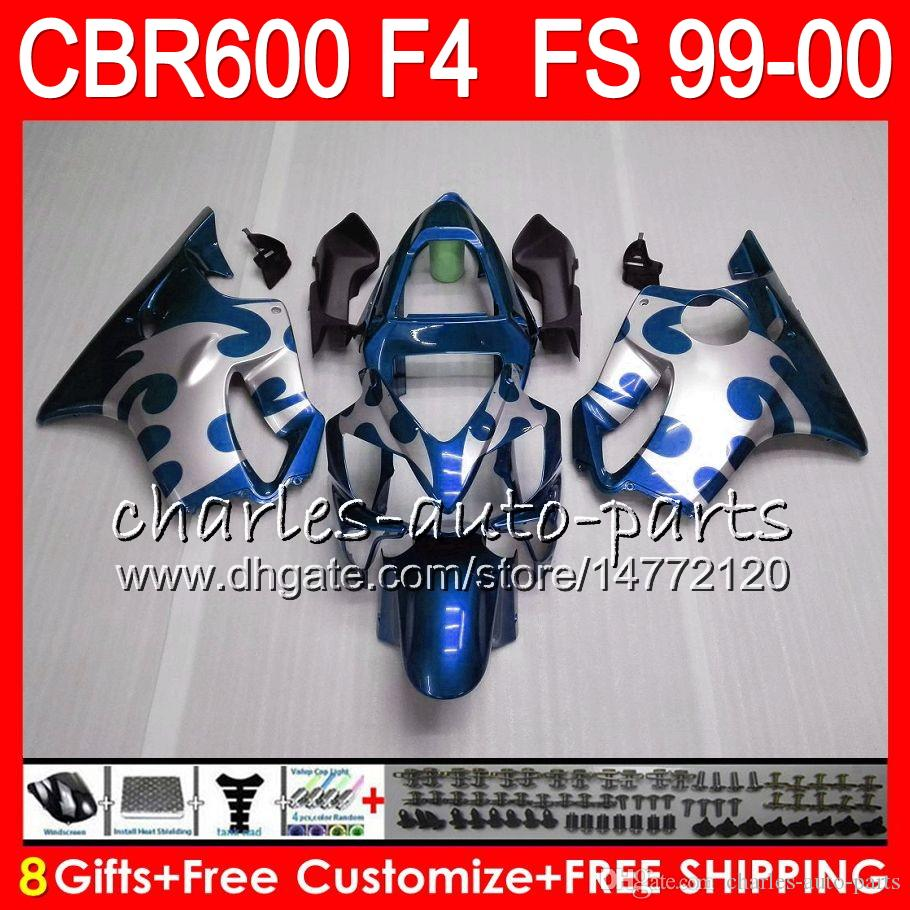 8Gifts Bodywork For HONDA CBR 600F4 CBR600F4 99 00 FS 30NO76 blue black CBR 600 F4 99-00 CBR600FS CBR600 F4 1999 2000 Fairing Kit