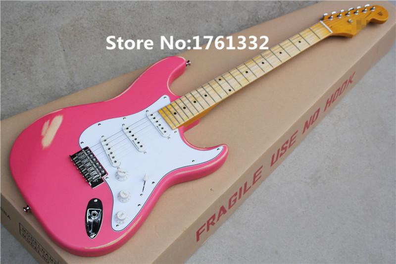 Wholesale Factory Custom Pink Old Body Electric Guitar With 3 Single PickupsChrome HardwareWhite PickguardCan Be Changed Acoustic Guitars For