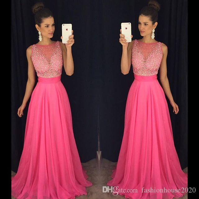 Modest Hot Pink Beaded Prom Dresses Long Chiffon Formal Gowns Party