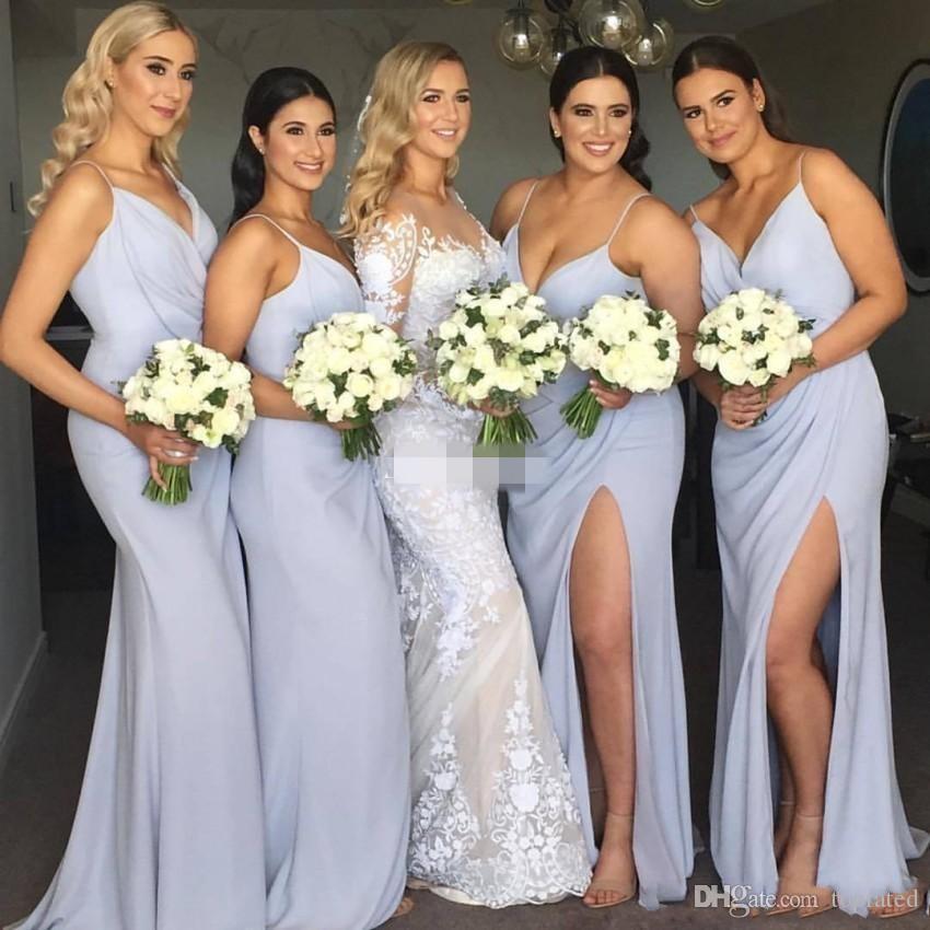 Simples Azulado Azul Plus Size 2017 Sereia Vestidos de Dama de Honra Spaghetti Com Decote Em V Sem Mangas Zipper Alta Dividir Chiffon Trem Da Varredura Dama de Honra