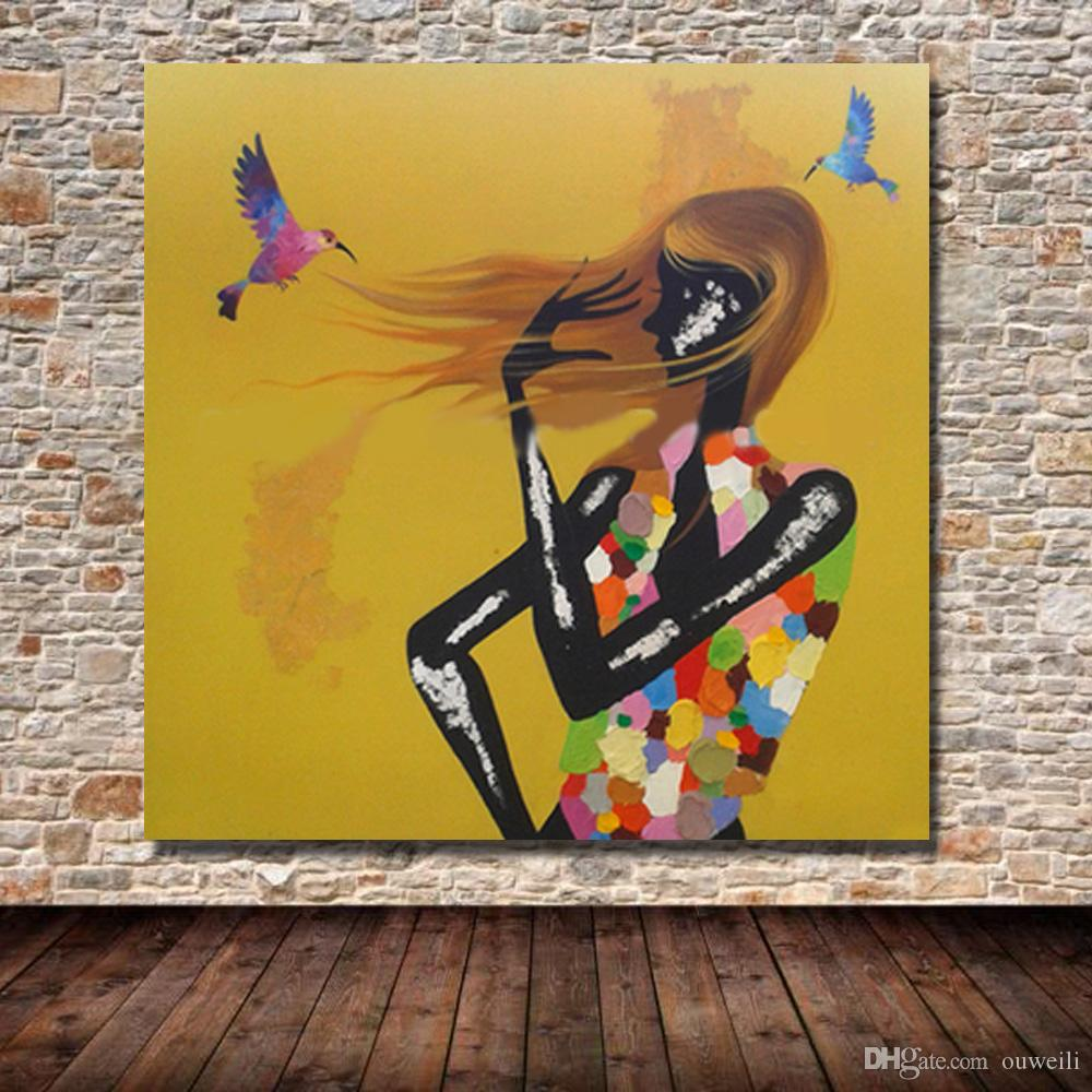 nice design black nude sexy young girl 12 beautiful dressing oil painting cheap art paintngs