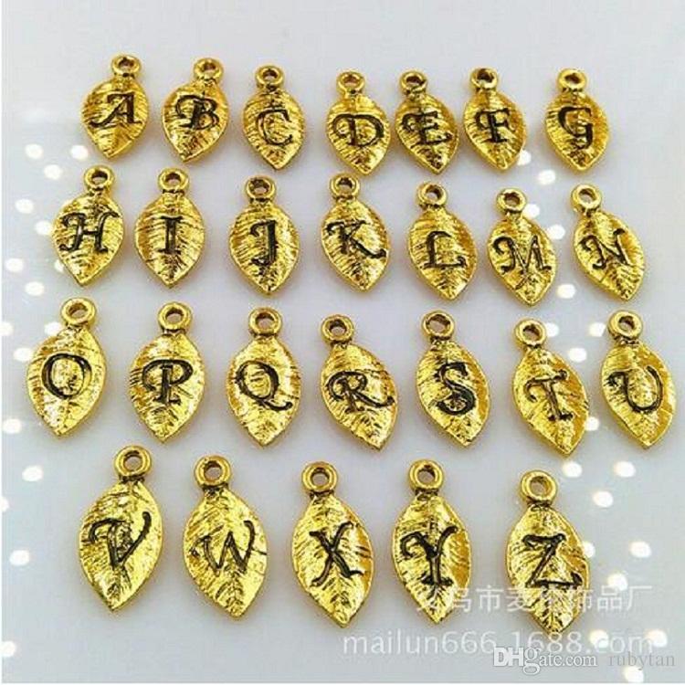 Haute qualité or / argent / bronze feuilles A-Z breloques lettre pour collierBracelet bricolage 10 pièces de chaque lettre