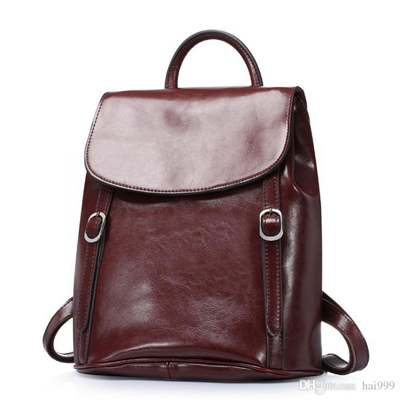 Ladies Fashion Leather Backpack Retro Oil Wax Leather Bag Men S