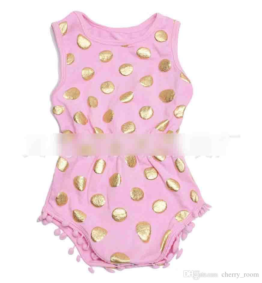 2017 New Newborn Clothes Baby Rompers Girls Jumpsuits Beans Fashion Gold Polka Dots Floral Leopard Printed Toddler Clothing onesie A6339