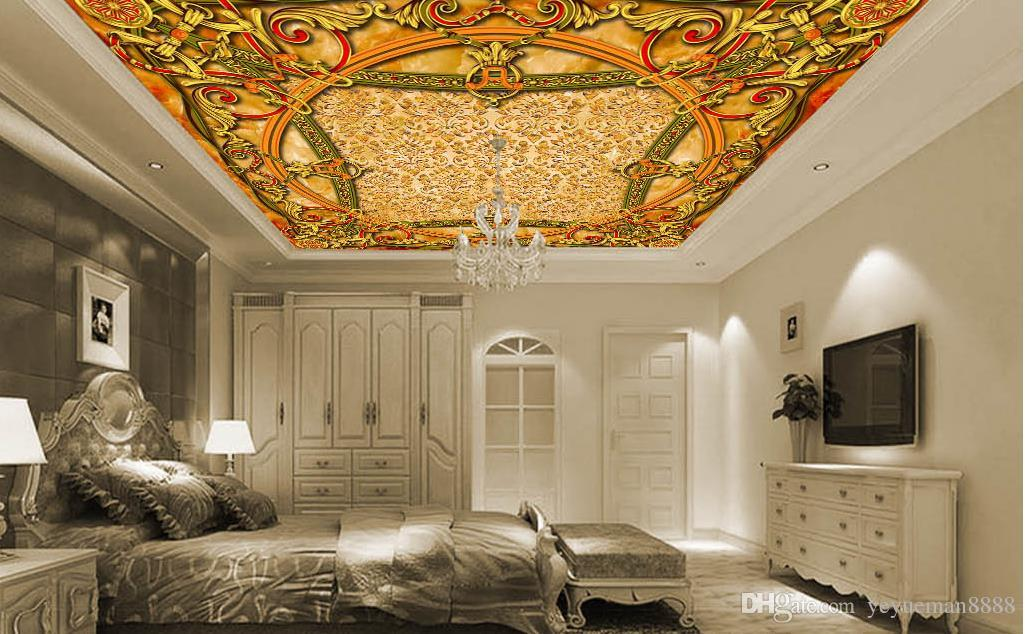 3D sala paisaje techo pared papel personalizado foto mural foto 3d techo arquitectura europea papel tapiz sala 3d techo