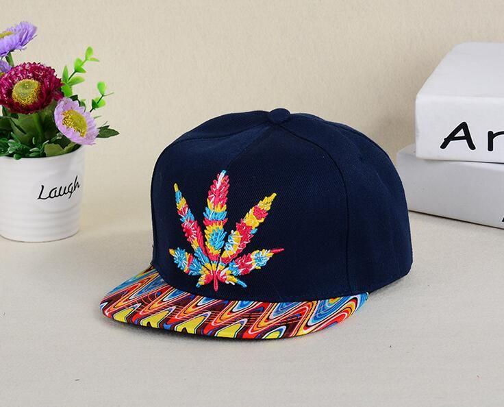اللون القنب القيقب ورقة قبعة بينغ الهيب هوب على طول قبعة رجل إمرأة مابل ليف الهيب هوب الرقص قبعة بيسبول