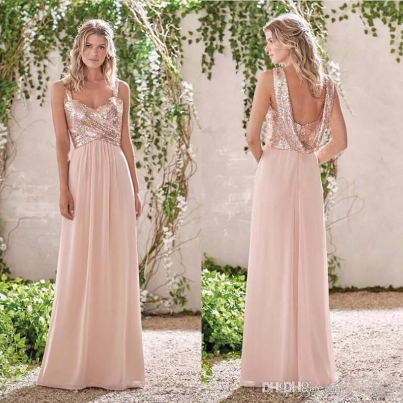 2017 New Sparkly Rose Gold Sequin Formal Bridesmaid Dress