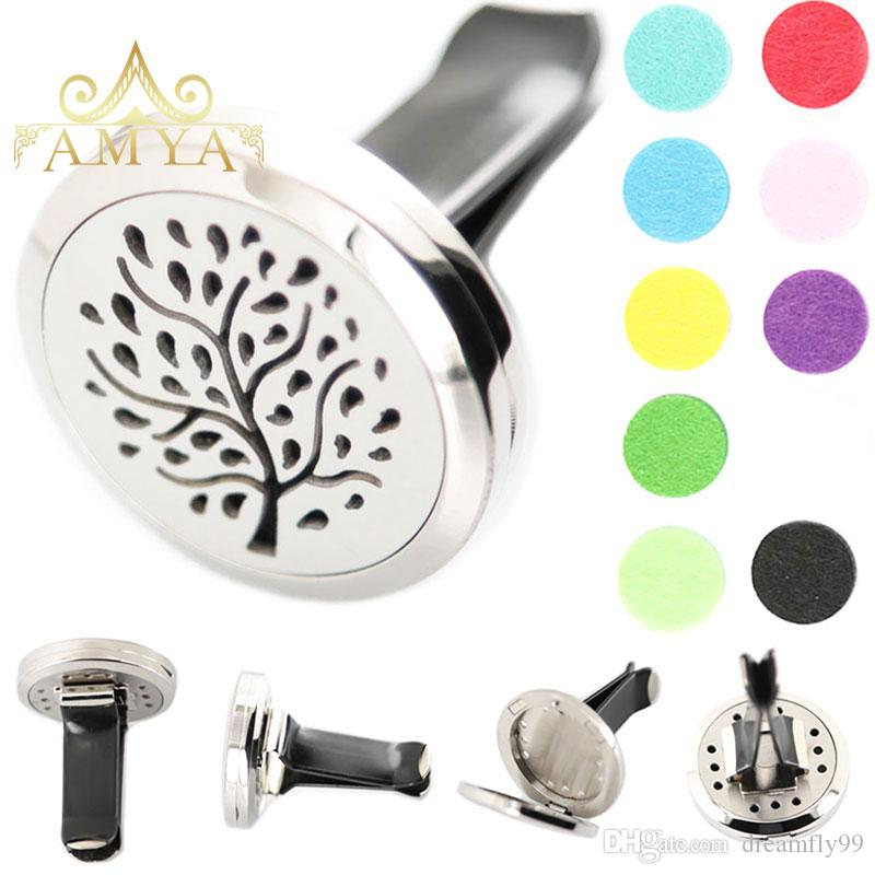 Family Tree 30mm Diffuser 316 Stainless Steel Pendant Car Aroma Locket Essential Oil Car Diffuser Lockets Free Pads