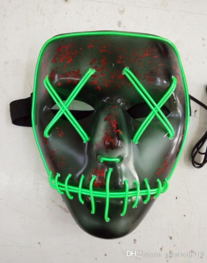 EL wire Mask Fashion Flashing Coplay LED MASK Costume Anonymous Mask for Glowing dance Carnival Party Masks wholesale LX007