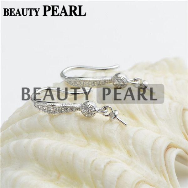 HOPEARL Jewelry Zircon 925 Sterling Silver Hook Earrings Finding Blank Earring Jewellery Sterling Silver