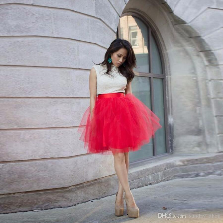 Haute Qualité Assez Rouge Tulle Jupes Femmes Satin Zipper Taille Genou Longueur Une Ligne Tutu Jupe Jupe D'été
