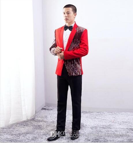 2018 Sequins Formal Dress Latest Coat Pant Designs Suit Men Blazer