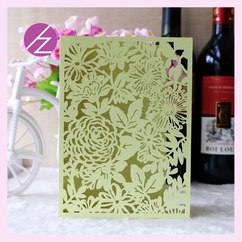 Wholesale Birthday Invitation Cards Flower Design Laser Cut Paper ...