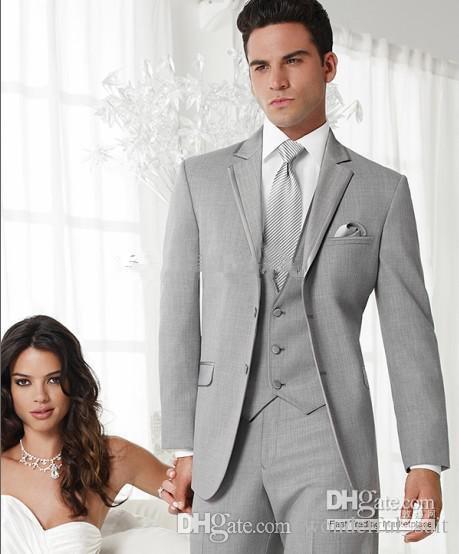 Hot Recomendar Casamento Cor Cinza Do Noivo Do Noivo Smoking roupas + calça + gravata + colete