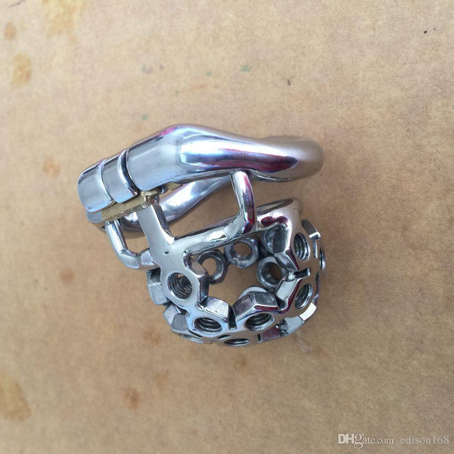 2017 Curva Snap Ring Design Hombre Pequeño Acero Inoxidable Cock Penis Cage Wi Spiked Screw Dispositivo de Cinturón de Castidad Productos BDSM Adultos Juguete Sexual S061