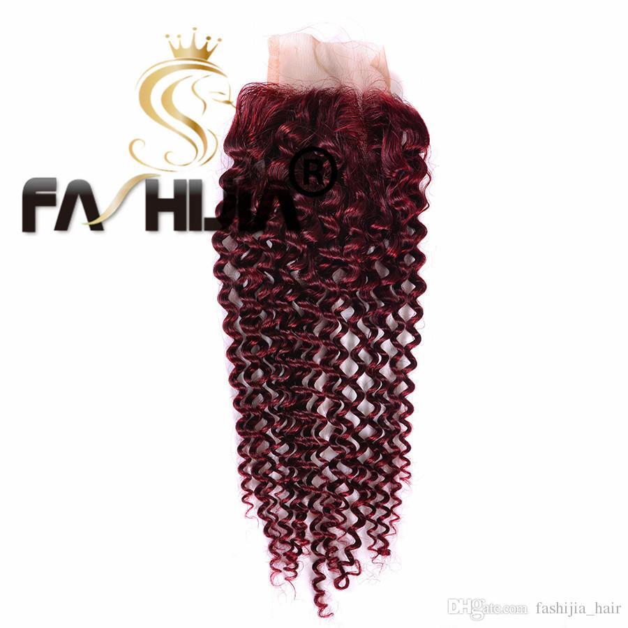 Burgundy peruvian kinky curly with closure 99j red peruvian virgin hair with closure jerry curly virgin hair afro kinky curly virgin hair
