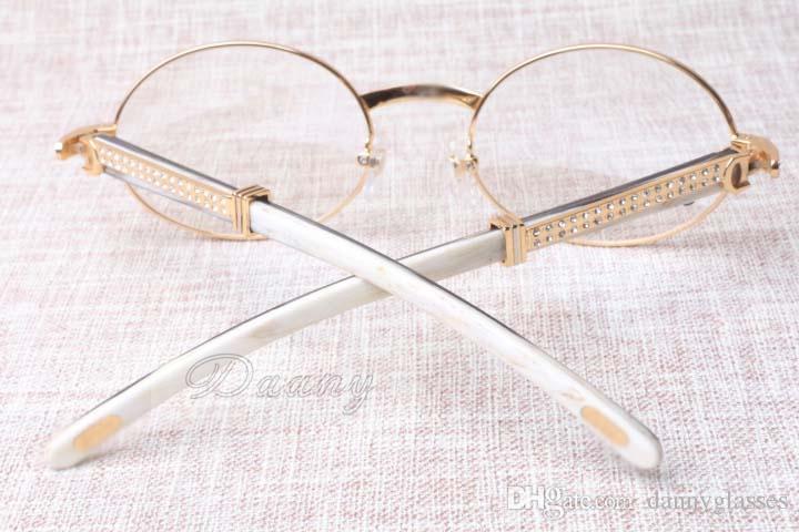 2017 novo diamante retro espetáculo quadro de moda high-end ângulo mista quadro 7550178 homens e mulheres óculos redondos size: 55-22-135mm