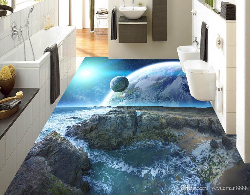 vinyl flooring mural Custom 3d floor tiles Cosmic sky wall papers home decor 3d floor wallpapers for living room