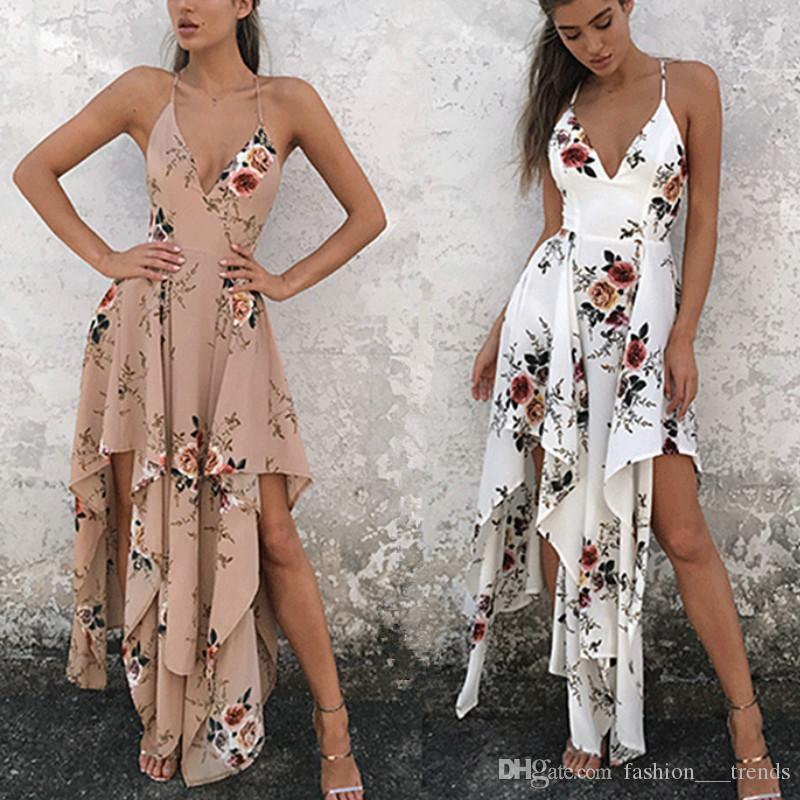 Summer Vestidos Floor Length Solid Dinner Sexy Dress Side Slit V Neck  Spaghetti Strap Female Gown Dresses Boho Style Print Maxi Long Dress  Cocktail And ... 9740bcd9f