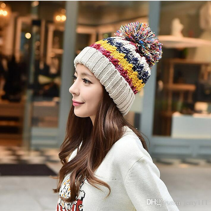Multi Color Knitted Hats For Women Girls Hat Knitted Beanies Cap Fur Ball  Cap Fur Pom Poms Warm Winter Knitted Hats LA336 2 Custom Beanies Crochet  Beanie ... d10e8f981fb