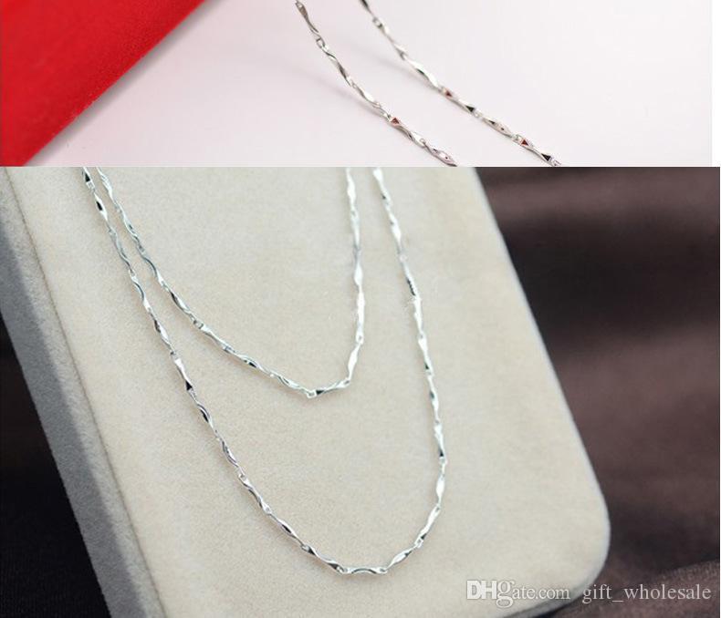 20 adet 925 gümüş pürüzsüz farklı şekil zincirleri Kolye yılan zincir karışık boyutu 40-45 CM 16-18 inç sıcak satış