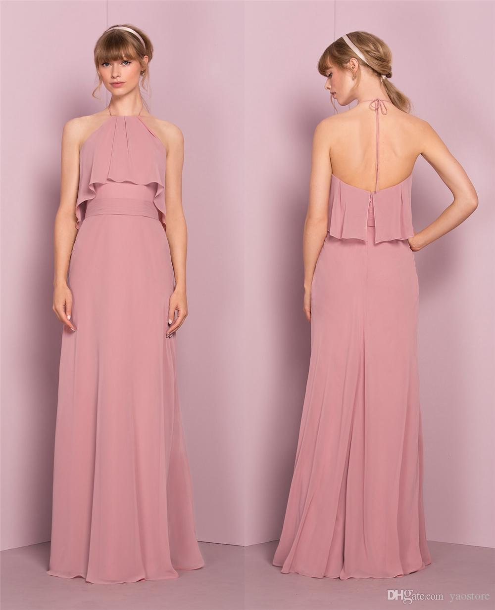 Elegant soft chiffon long bridesmaid dresses modern halter neck see larger image ombrellifo Image collections