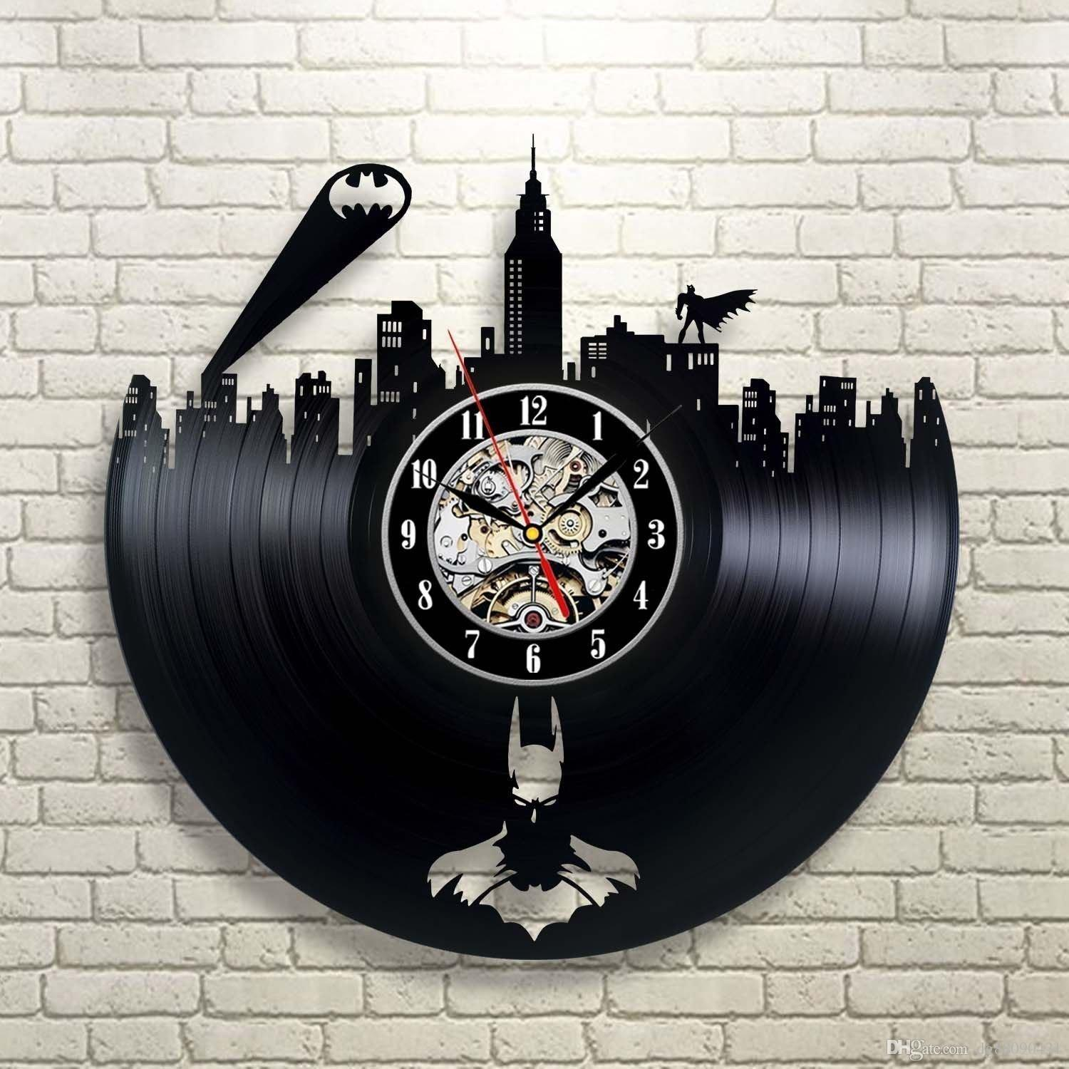 Secondlifeforvinyl eco friendly batman vinyl record concept wall clock batman theme cd vinyl clocks horloge murale decorative modern design large decorative