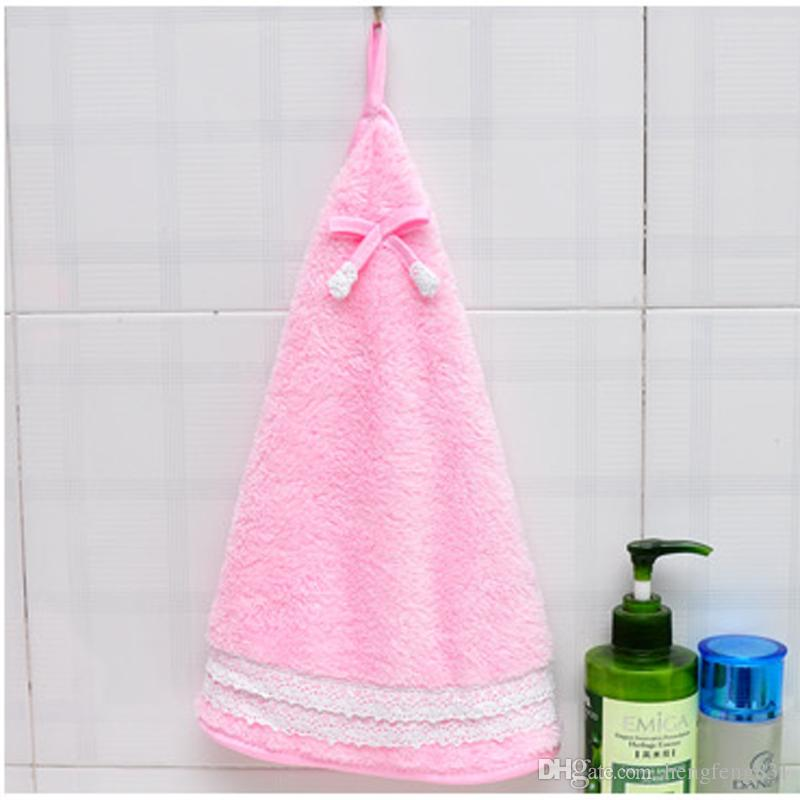 New Lovely bow knot lace edge fan towel thickened coral velvet kitchen duster rag