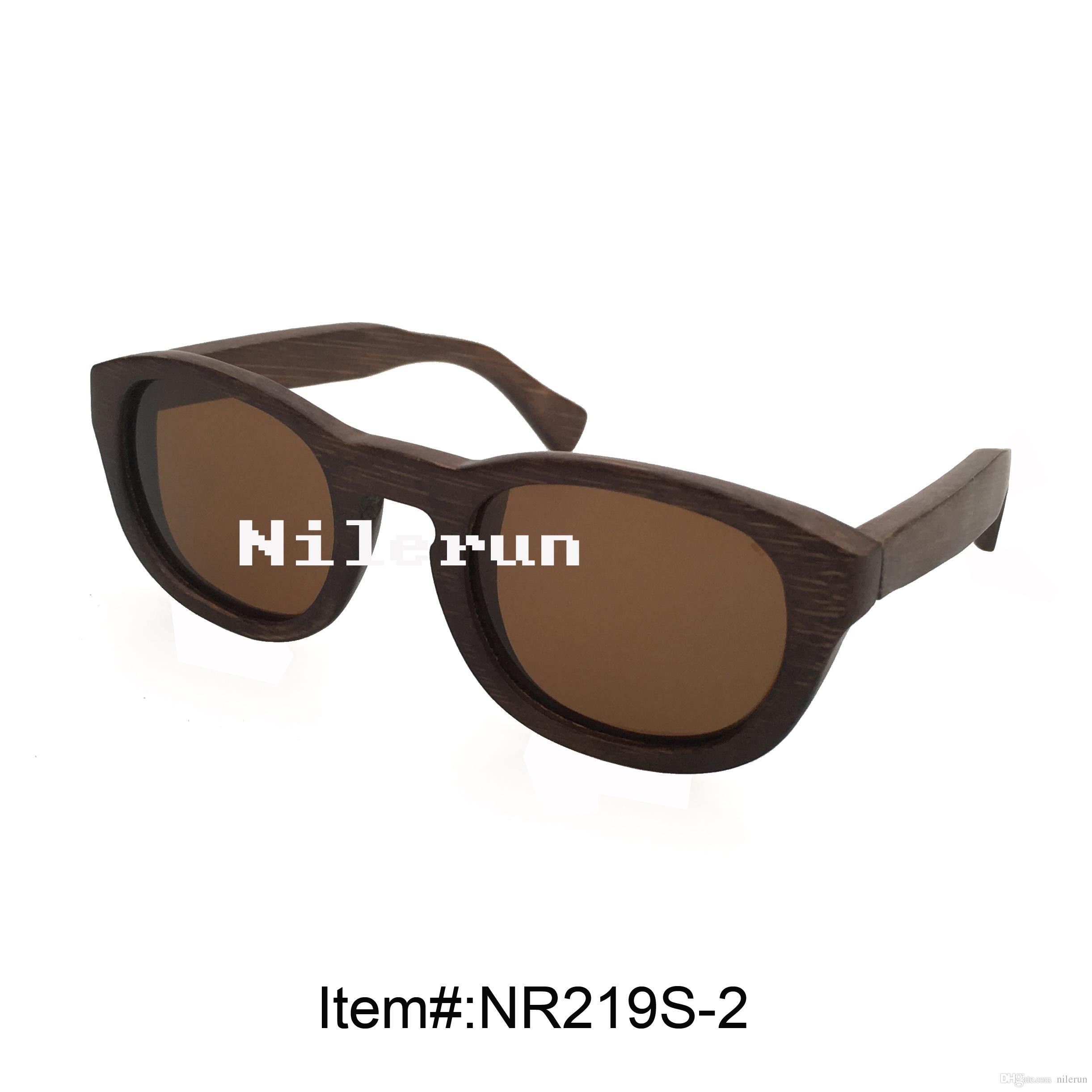 fashion woman's small oval brown bamboo sunglasses