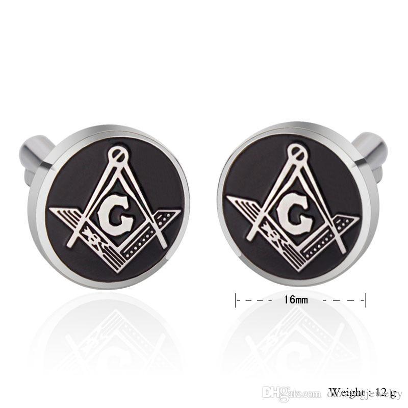 316 Ze Stali Nierdzewnej Wysokiej Jakości Męski Silver Masonic Cufflink Męski Biżuteria Freemason Koszula Mankiet Spinki do mankietów Hurtownie