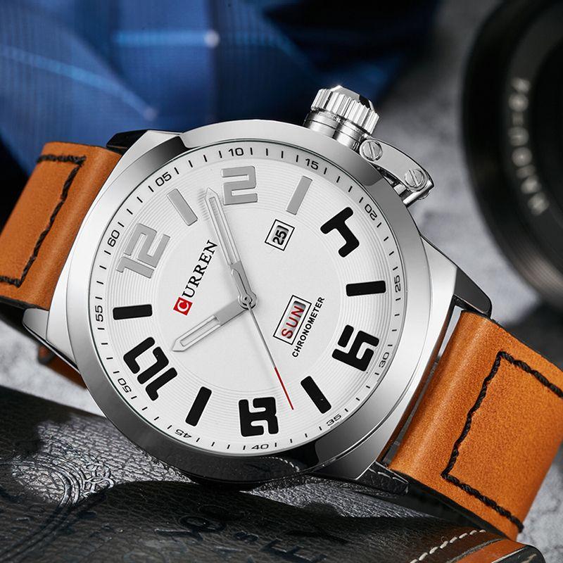6dcfcf807405 Compre Curren 8270 Mens Hombres De Negocios Reloj De Cuarzo Relojes De  Pulsera De Cuero Automático Fecha Día De La Semana Deporte De Moda Hombre  Relojes De ...
