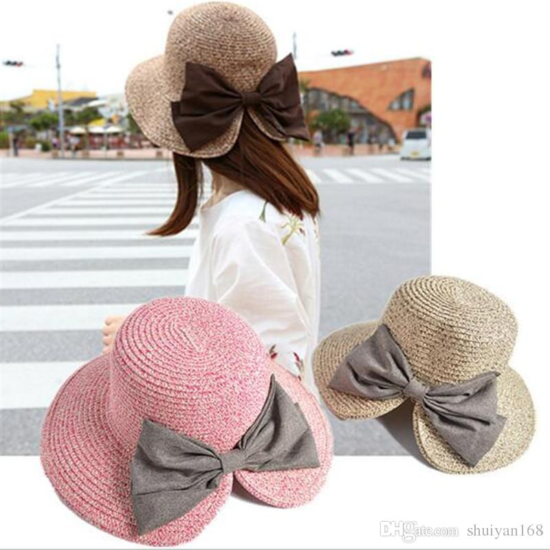 781e6baa898 Womens Floppy Summer Sun Beach Straw Bucket Hat Fedora Foldable Church Wide  Brim Hat 56 58cm Crazy Hats Fishing Hat From Factory top