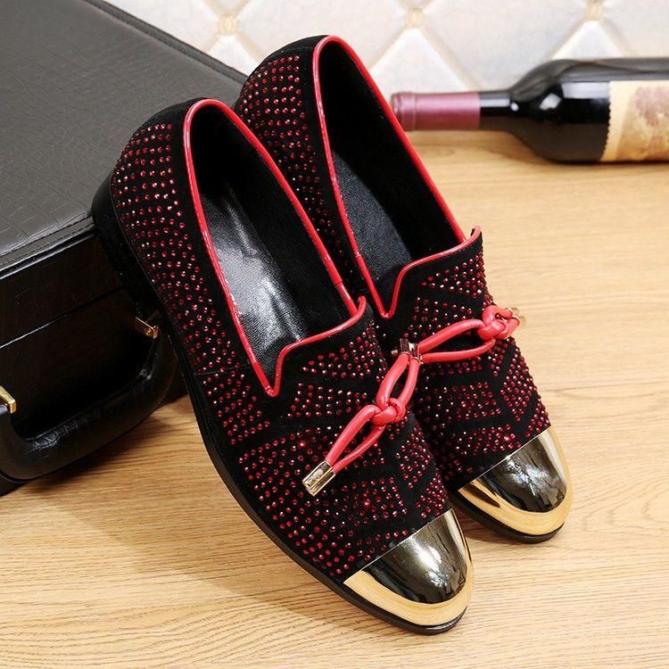 2017 Casual Formal Shoes For Men Black Genuine Leather Tassel Men Wedding Shoes Gold Metallic Mens Studded Loafers Crystals Mens Tennis Shoe