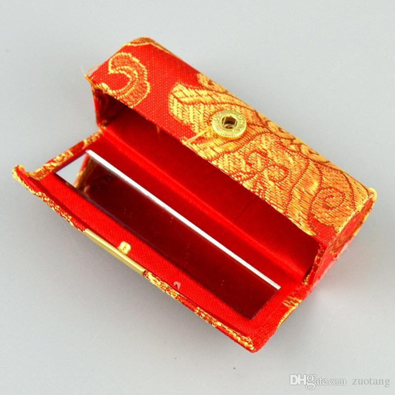 Única de maquillaje vacío del lápiz labial Caja de almacenamiento con espejo brocado de seda Bálsamo labial Embalaje Caso brillo de labios tubos Contenedores /