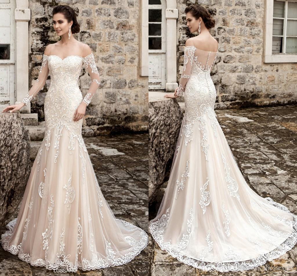 def65fb54095 2017 Princess Vestidosnovia Off Shoulder Mermaid Wedding Dresses Sexy  Spaghetti Strap Sheer Long Sleeve Lace Appliques Trumpet Bridal Gowns Gown  Style Ivory ...
