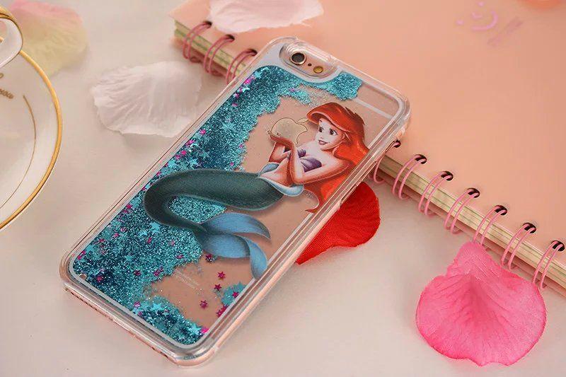 Para la caja del teléfono móvil del silicón de Iphone7 Plus para la caja protectora trasera del iPhone 6s Plus para el caso líquido de la arenas movedizas del iphone 5