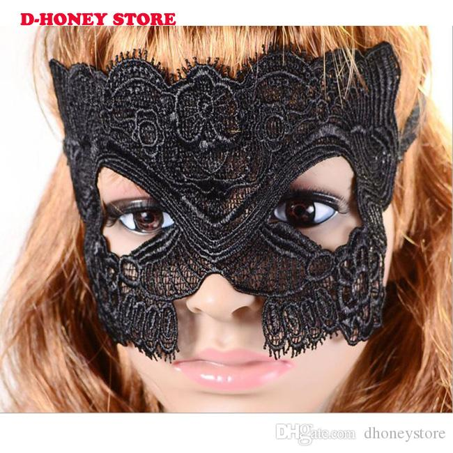 Women Black Sexy Lace Mask Party Mysterious Retro Lady Eye Mask For Masquerade Party Fancy Dress Venetian Costumes