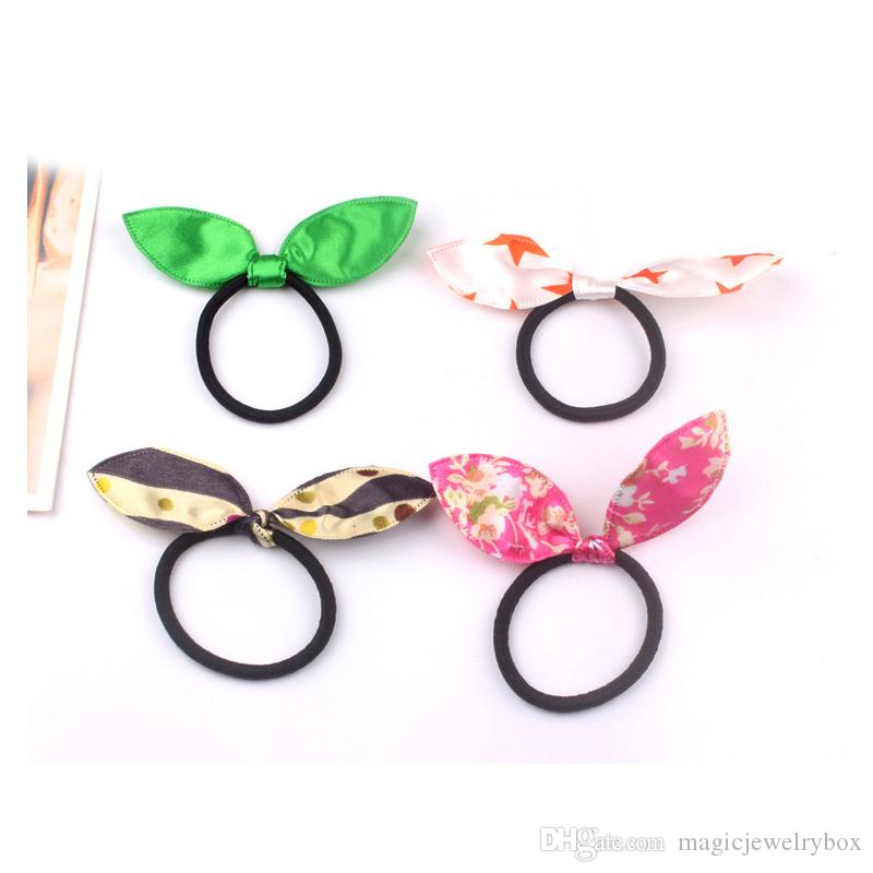 New Elastic hair ties hair bands Bunny Rabbit Ears style Bows HairBands Stripes Dots girls ponytail holder pony girl rubber hair accessories