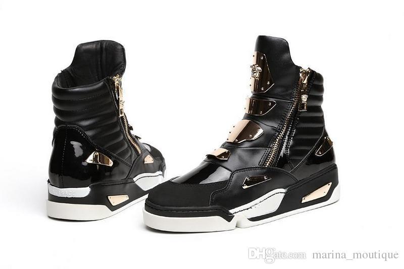 Nuovo 2017 Moda Sneakers Uomo Scarpe in vera pelle Nero Rosso Uomo Stivaletti Hombre Zapatos Masculino Plus Size Euro 46 Scarpe sportive