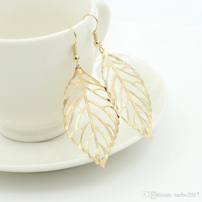 Brincos de Folha de Aço inoxidável para As Mulheres Brincos de Lustre Estilo Europeu Folha de Prata de Ouro Encantos Brincos Jóias Novo