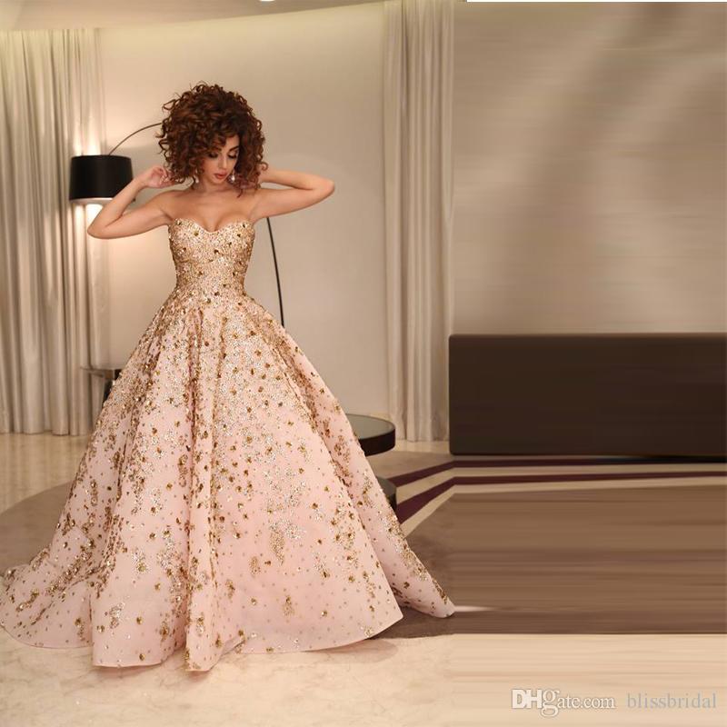 Libanon Sänger Syriam Fares gleichen Stil Princes Prom Kleider Sexy Applique Puff formale Abendkleid Sweep Zug rückenfreie formale Partykleid