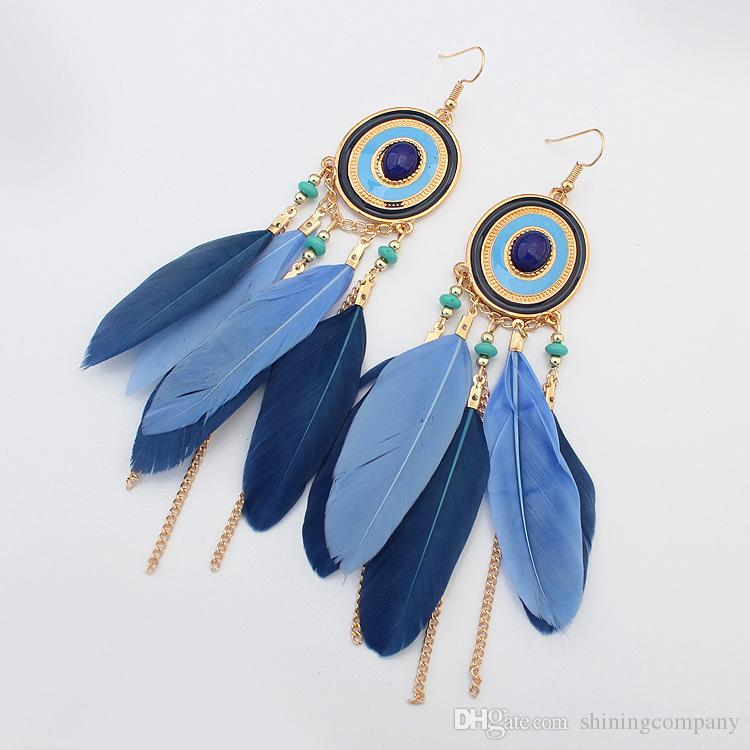 d4091958cc4a3 Bohemia Feather Earrings Ethnic Retro Arrow Target Tassel Earrings Lady  Feather Earrings 5 colors Dangles Best Christmas Gift for women