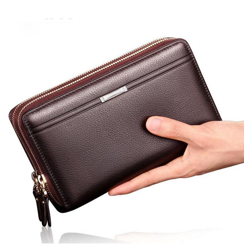 d20b77510e Wholesale Luxury Brand Business Men Wallets Long PU Men S Leather Cell Phone  Clutch Purse Handy Bag Black Top Zipper Large Wallet Purse Batman Wallet ...