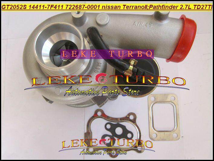 GT2052S 14411-7F411 722687-5001S 722687 turbo Nissan Terrano II 2001 Pathfinder 2.7L 01-05 TD27TI Turbocharger