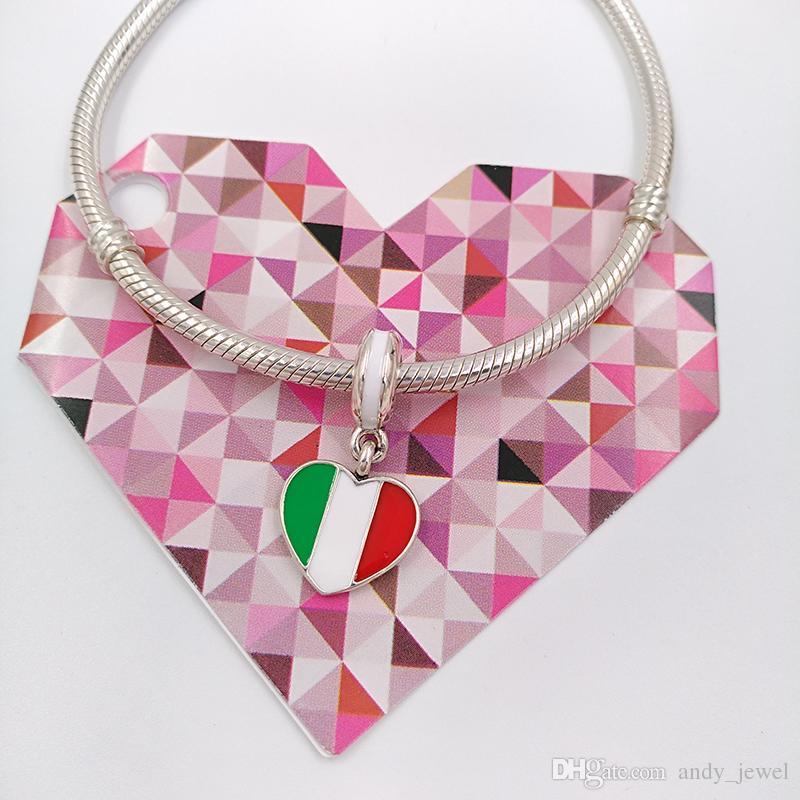 925 Perles En Argent Italie Coeur Drapeau Pendentif Charme Convient Aux Bijoux De Bracelets De Style Pandora Européenne