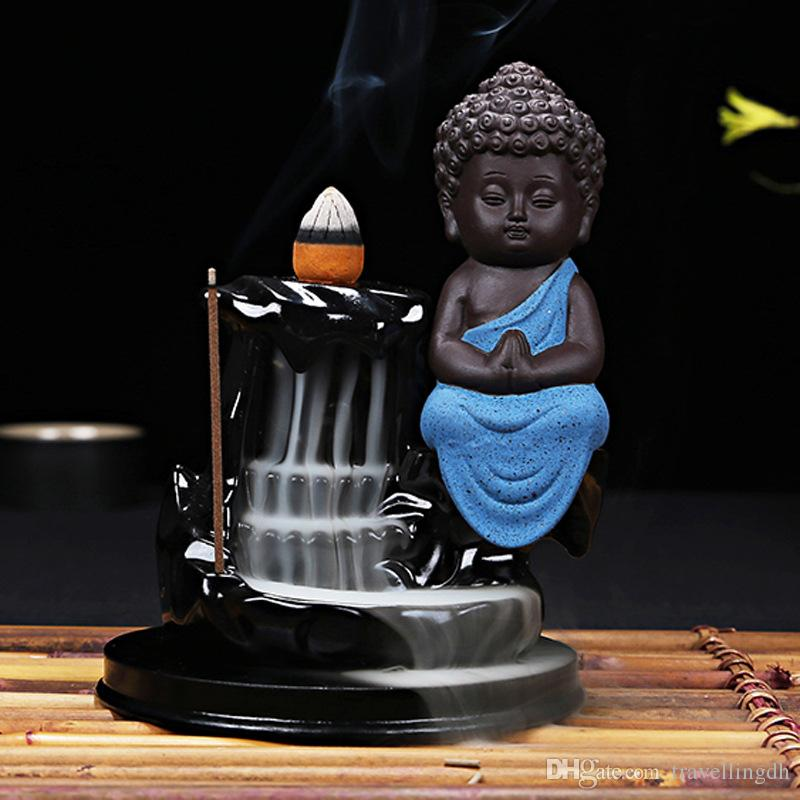 Incense Cones Burner Creative Home Decor The Little Monk Small Buddha Censer Backflow Incense Burner Use In Home Teahouse