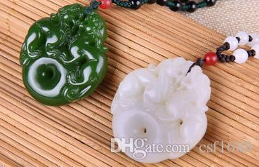 Xinjiang natural jasper white jade jade and tian Luoxi brave pendant pendant necklace male and female pendant