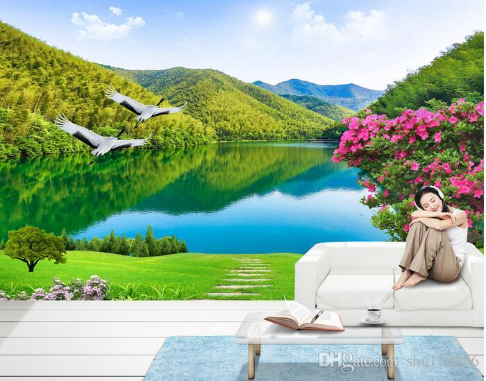 Custom 3d Mural Wallpapers Hd Landscape Mountains Lake: 3d Room Wallpaper Custom Photo Mural Mountain Lake Scenery